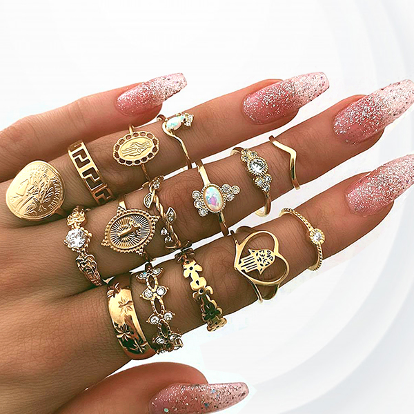 Fifteen Pieces Gold Plated Cross Pattern Party Rings Set - Rose Golden
