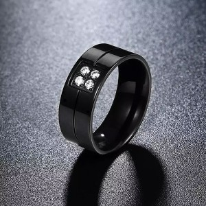 Fashion Series Titanium Steel Diamonds Ring Wholesale Male Ring