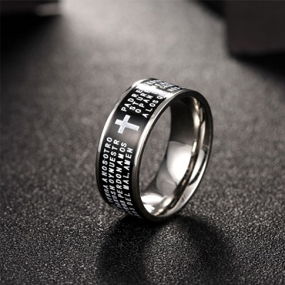 Elegant Shiny Steel Men Rings Titanium Steel Cross Black Rings