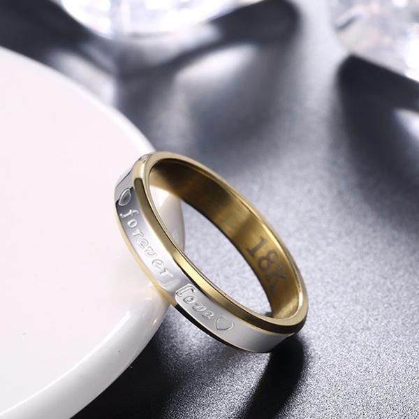 Forever Love Steel Ring Women Romantic Multi Color Circular Ring
