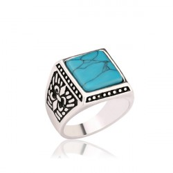 New Trendy Carved Ring With Sky Blue Semi-Precious Stone