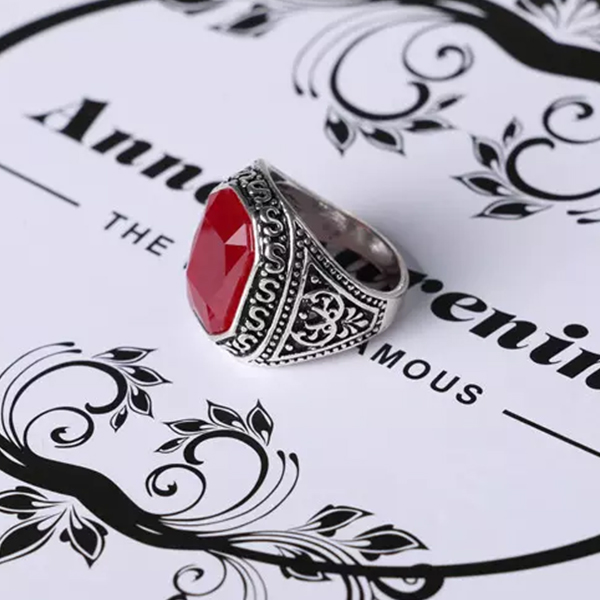 Precious Red Stoned Floral Carved Stylish Women Rings