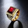 Men Fashion Ring Titanium Steel Square Red Stone Jewelry