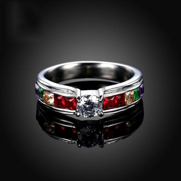 Multicolor Titanium Steel Diamond Ring Jewelry