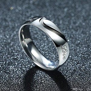 Male New Brand Titanium Steel Couple Fashion Flat Silver Ring