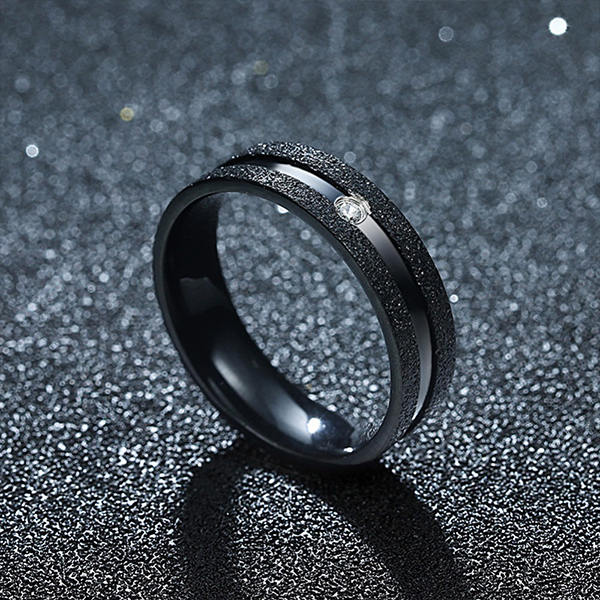 High-Class Black Titanium Steel Couple Ring Men Jewelry