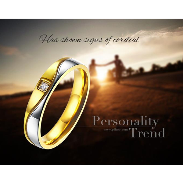 Golden and Silver Titanium Steel Couple Ring Women Jewelry