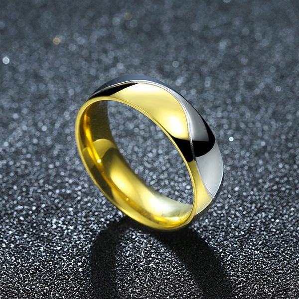 Golden and Silver Titanium Steel Couple Ring Men Jewelry