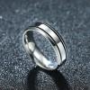 Simple Elegant Titanium Steel Couple Flat Ring Men Jewelry