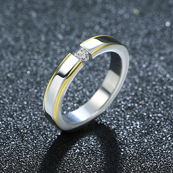 Fashion Couple Ring Black And Silver Diamond Ring For Women