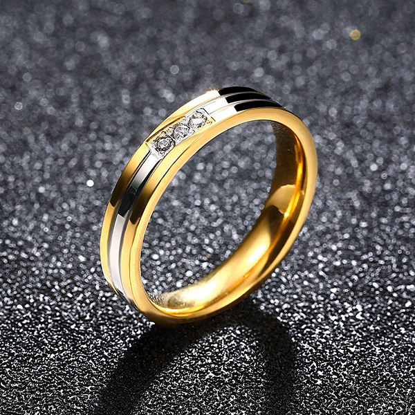 Fashion Flat Ring Stainless Steel Couple Female Ring Golden Jewelry