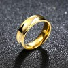 Flat Ring Stainless Steel Couple Men Ring Golden Jewelry