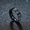 Black Titanium Steel Striped Diamond Fashion Ring Women Jewelry