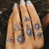 Crystal Purple Rhinestone Silver Plated Rings Set
