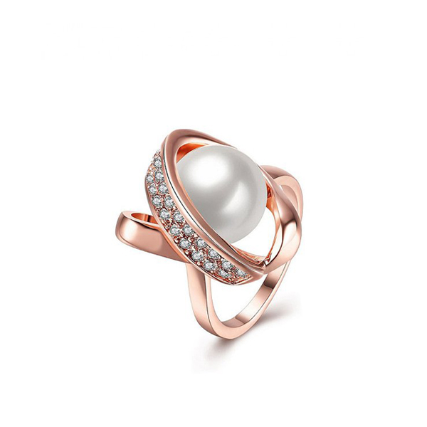 Rose Gold Fancy Modern Beautiful Girls Pearl Ring