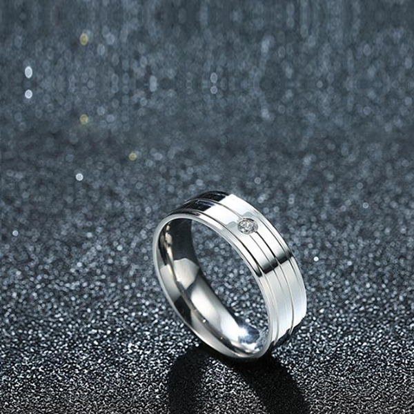 Titanium Steel Simple Striped Couple Diamond Ring Men Jewelry