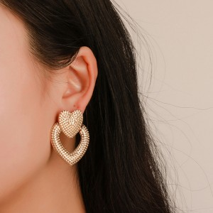 Heart Shaped Retro Party Wear Earrings - Gold Plated