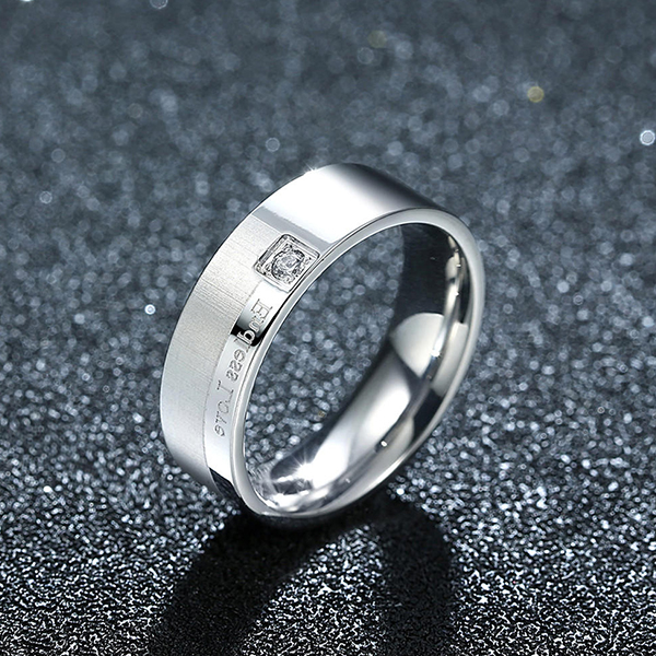 Titanium Steel Series Diamond Eternal Couple Ring Men Jewelry