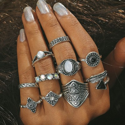 Silver Plated Ten Pieces Tribal Trend Rings Set