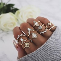 Rhinestone Decorative Gold Plated Ten Pieces Rings Set