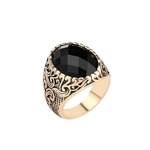 Floral Carving With Black Zircon Ring For Men