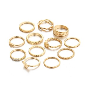 Retro Gold Plated 12 Pieces Rings Set For Women