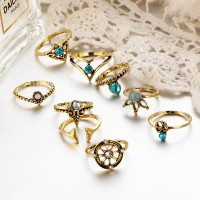 Crystal Gold Plated Eight Pieces Boho Rings Set