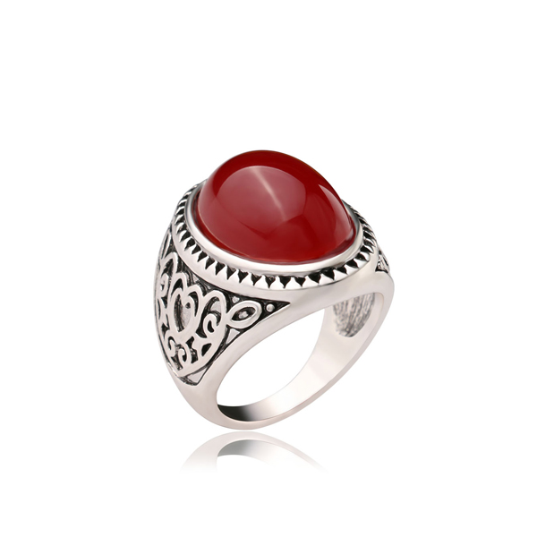 Fine Beauty Carved Maroon Rhinestone For Men