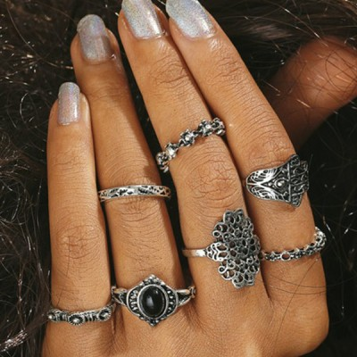 Silver Plated Seven Pieces Tribal Style Rings Set