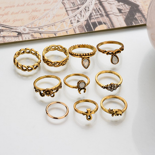Bohemian Ten Pcs Gold Plated Rings Set For Women