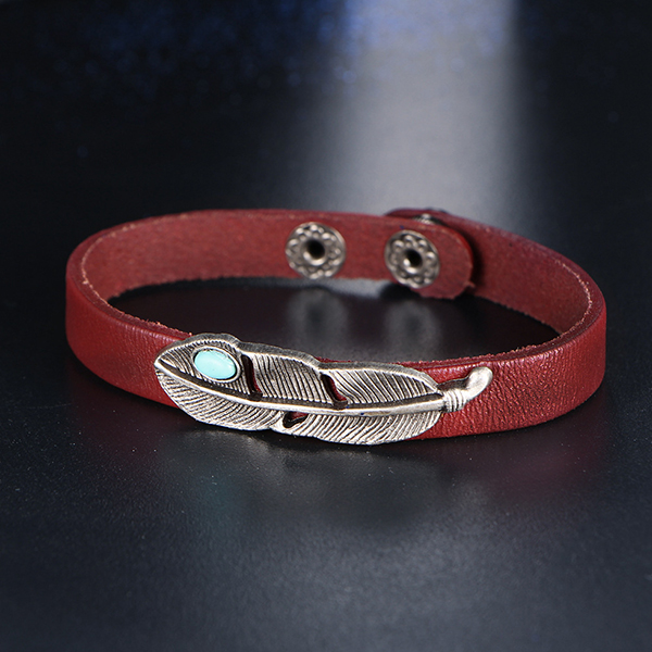 Cloaccd Unisex Hollow Out Leather Bracelet-Cuff Brown