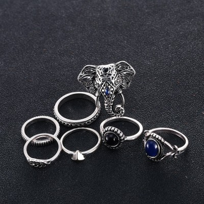 Seven Pieces Elephant Carved Rings With Multi Designs