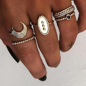 Five Pieces Gold Plated Boho Rings Set - Golden