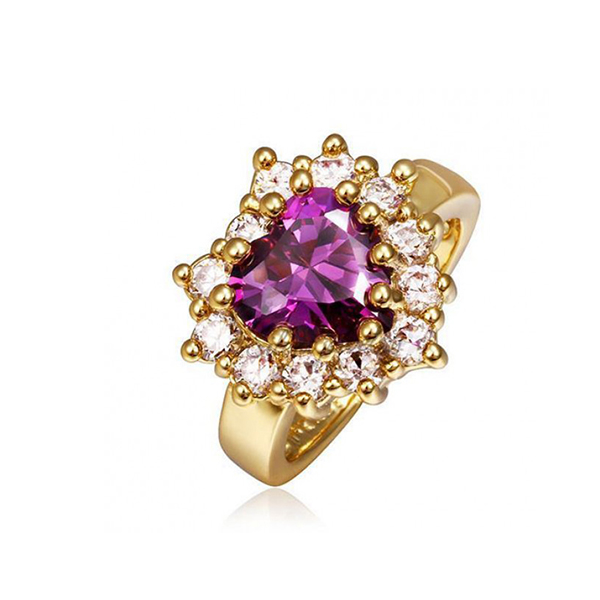 Women Heart Shaped Fancy Gold Ring Purple