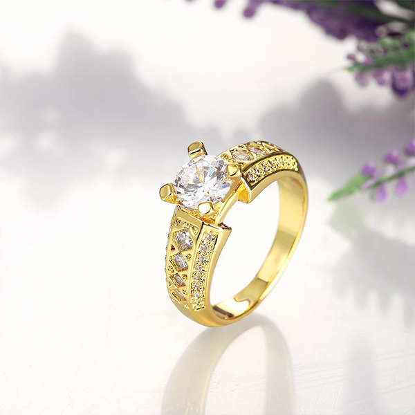Hot Fashion Prong Ring Wild Golden Zirconium Double Ring