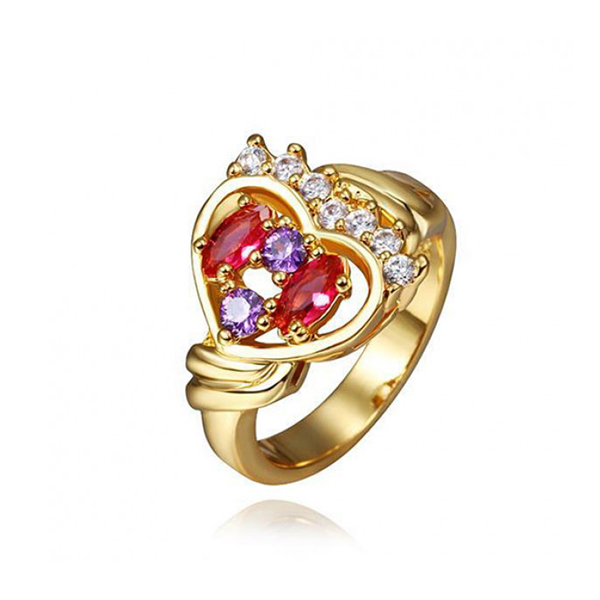European Style Gold Heart Shaped Diamond Ring