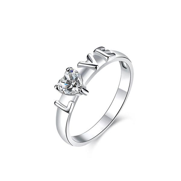 Korean Lovely Heart-shaped Silver Zircon Ring