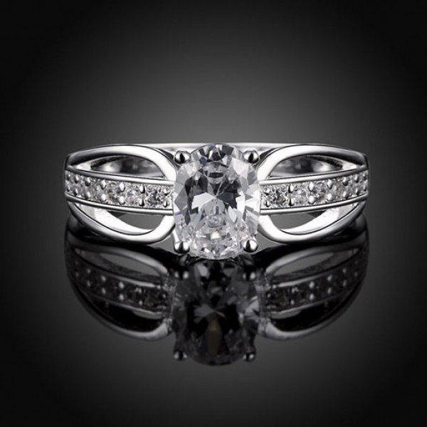 European Classic Fashion Zirconium Silver Ring