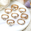 Eight Pieces Gold Plated Crystal Rings Set