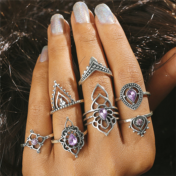 Crystal Purple Rhinestone Silver Plated Rings Set