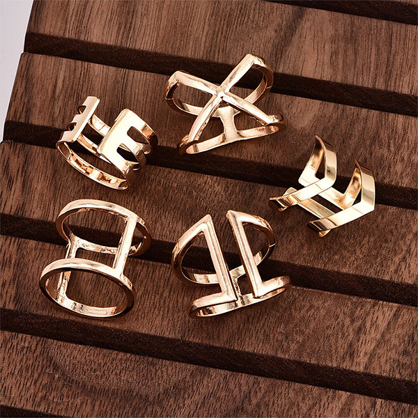 Gold Plated Geometric Fancy Rings Set