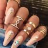 Crystal Gold Plated Five Pieces Rings Set