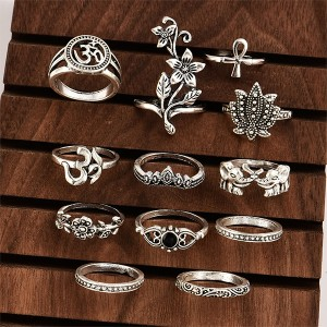 Religious Carved 12 Pieces Silver Plated Rings Set