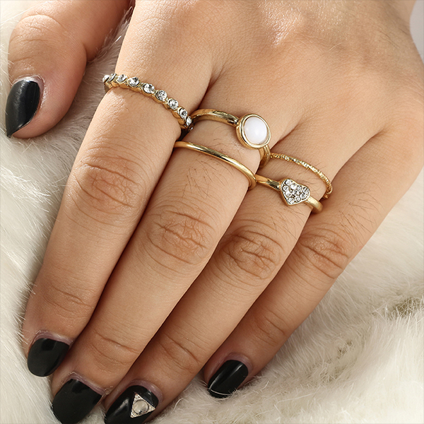 Rhinestone Four Pieces Gold Plated Rings Set