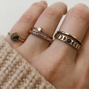 Five Pieces Gold Plated Wedding Rings Set