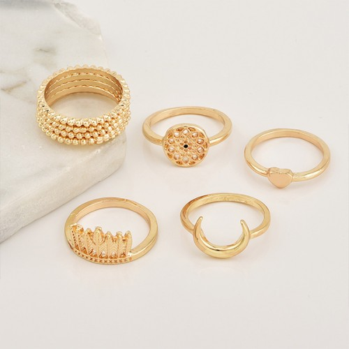 Bohemian Carved Special Gold Plated Rings Set