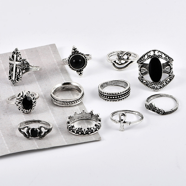 Eleven Pieces Religious Multiple Design Rings Set