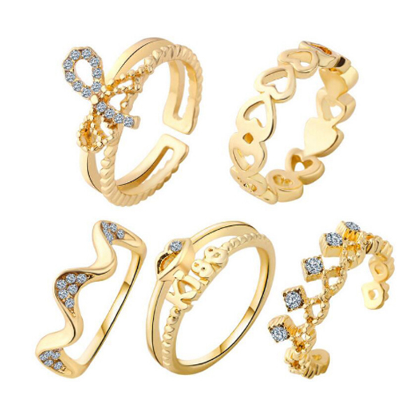 5 Fashion Finger Rings Midi Set For Women Golden Color