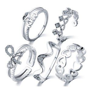 5 Fashion Finger Rings Midi Set For Women Silver Color
