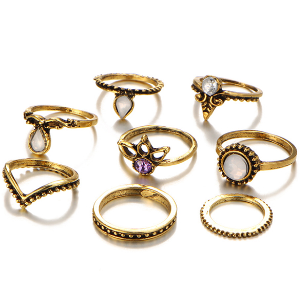 Bohemian Gold Plated Zircon Eight Pieces Rings Set